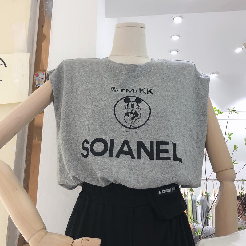 韓版夏季新款寬松米奇字母印花無袖雙層背心百搭短款上衣女