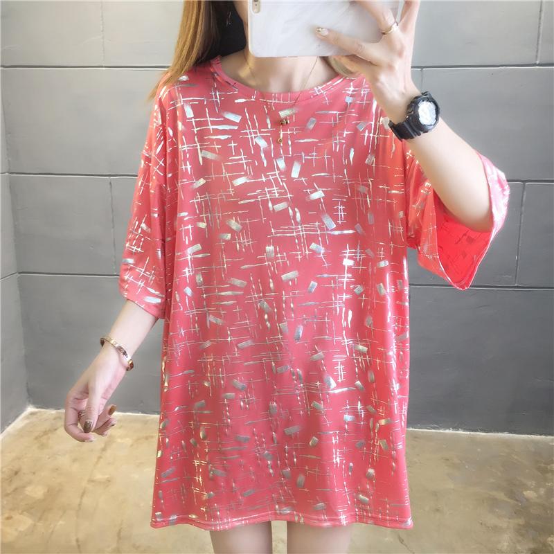 實拍好質量95聚酯纖維5氨綸銀膜料米奇中長款短袖t恤女