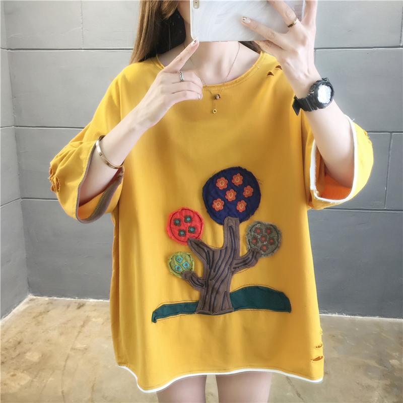 實拍好質量韓版棉質寬松卡通貼布短袖中長t恤女大碼女裝