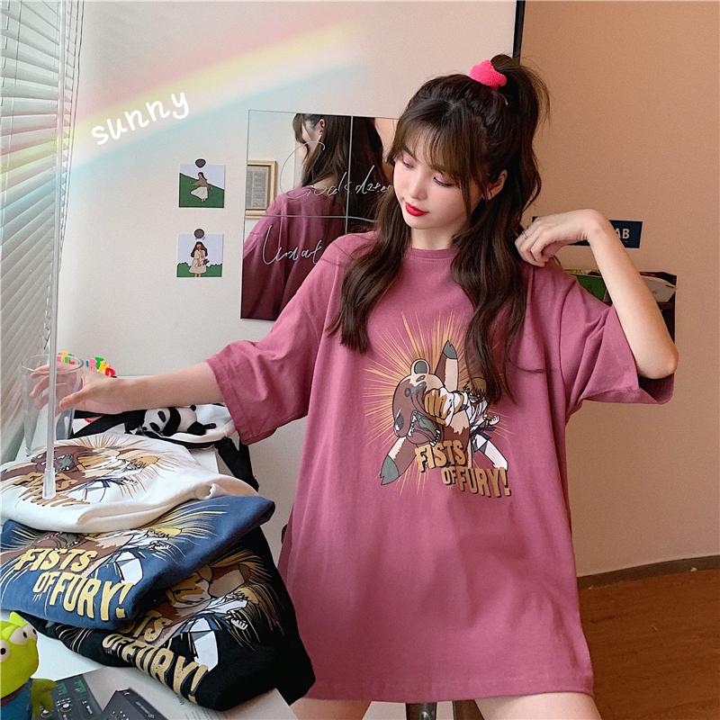 實拍夏日清新少女短袖t恤女卡通印花圓領上衣網紅同款