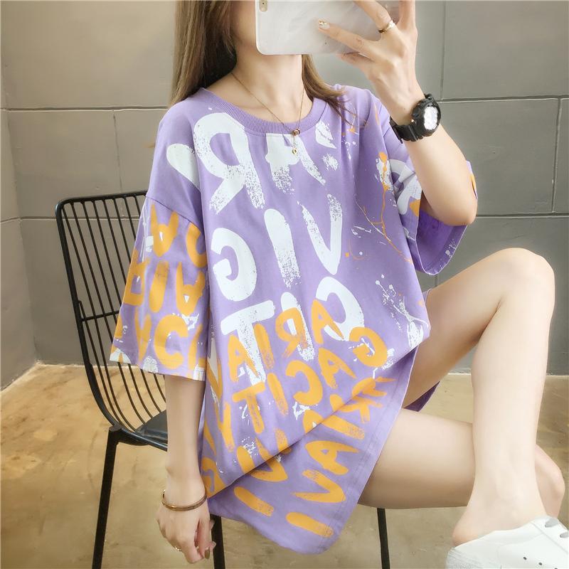 實拍2020大版網紅韓版涂鴉短袖t恤女寬松大碼女裝上衣服連衣裙