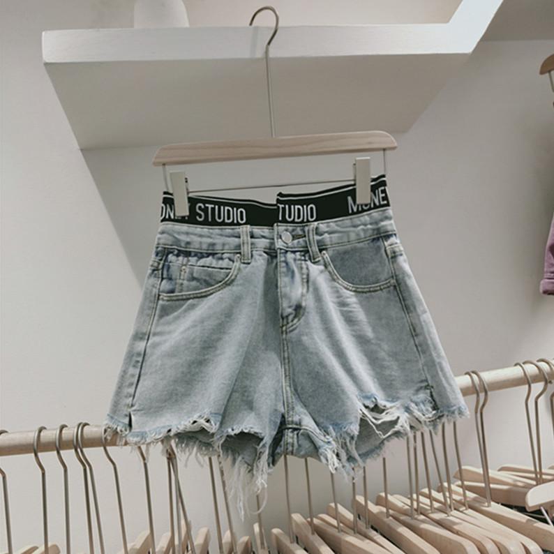 實拍牛仔短褲2020夏款新款韓版chic寬松顯瘦闊腿高腰修身a字短褲