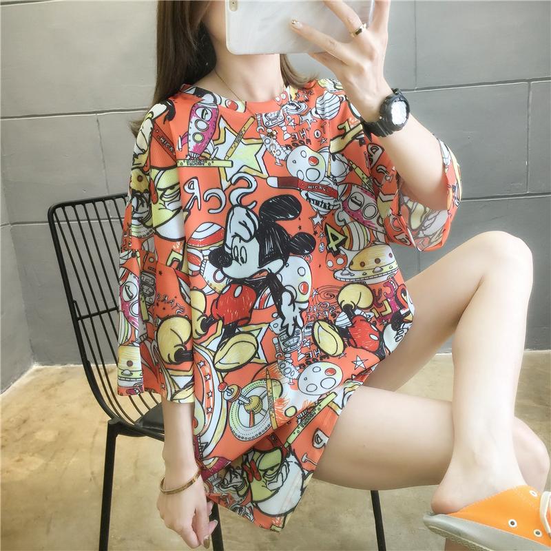 實拍夏款速干網眼好質量韓版寬松短袖中長t恤女網紅同款連衣裙
