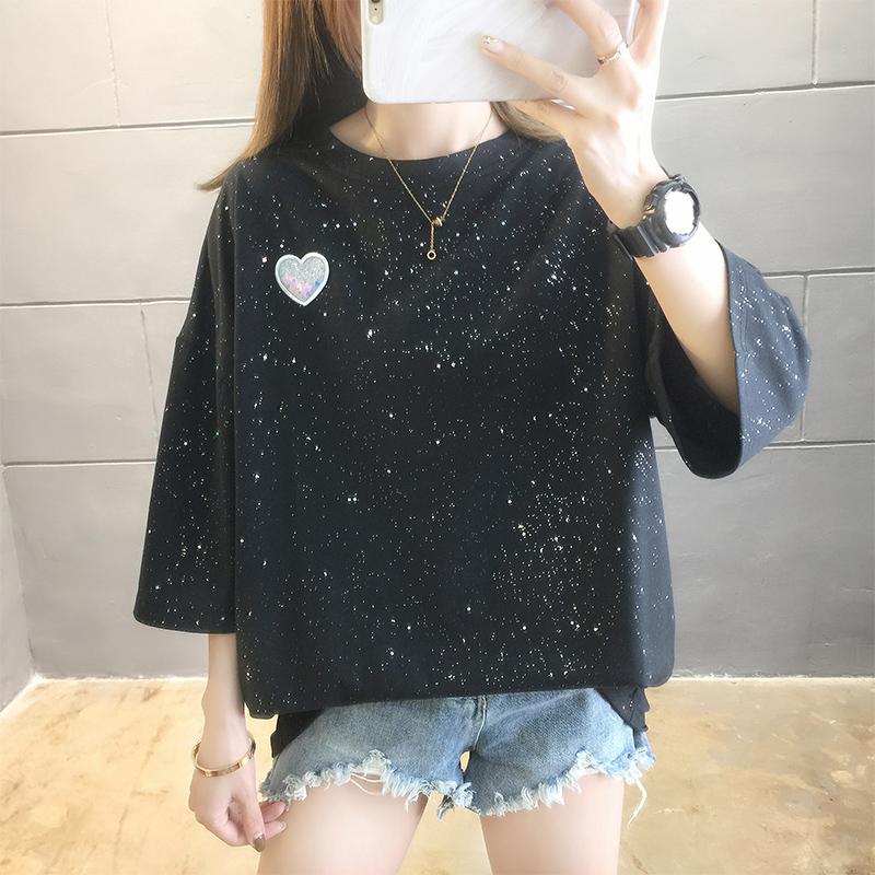 實拍好質量大版t恤女夏韓版寬松中長款短袖小愛心亮閃閃大碼上衣