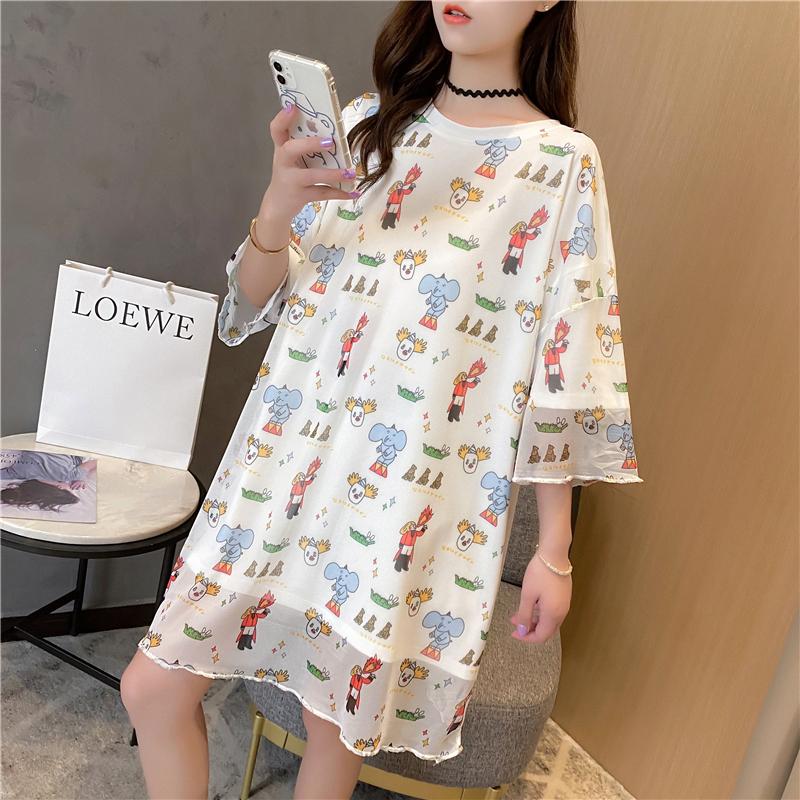 實拍大件短袖T恤女新款印花寬松中長款韓版連衣裙網紅上衣