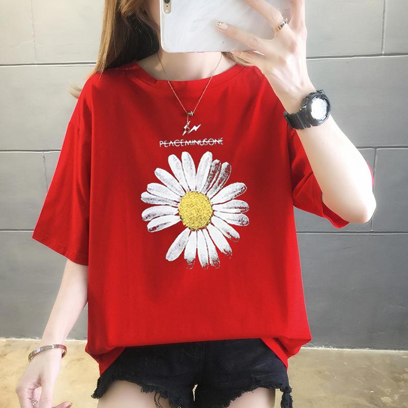 純棉大碼女裝2020夏裝5671#實拍紅色港味小雛菊印花短袖T恤女上衣
