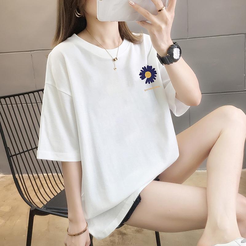 純棉大碼女裝2020夏裝5673#實拍港味小雛菊印花白色短袖T恤女上衣
