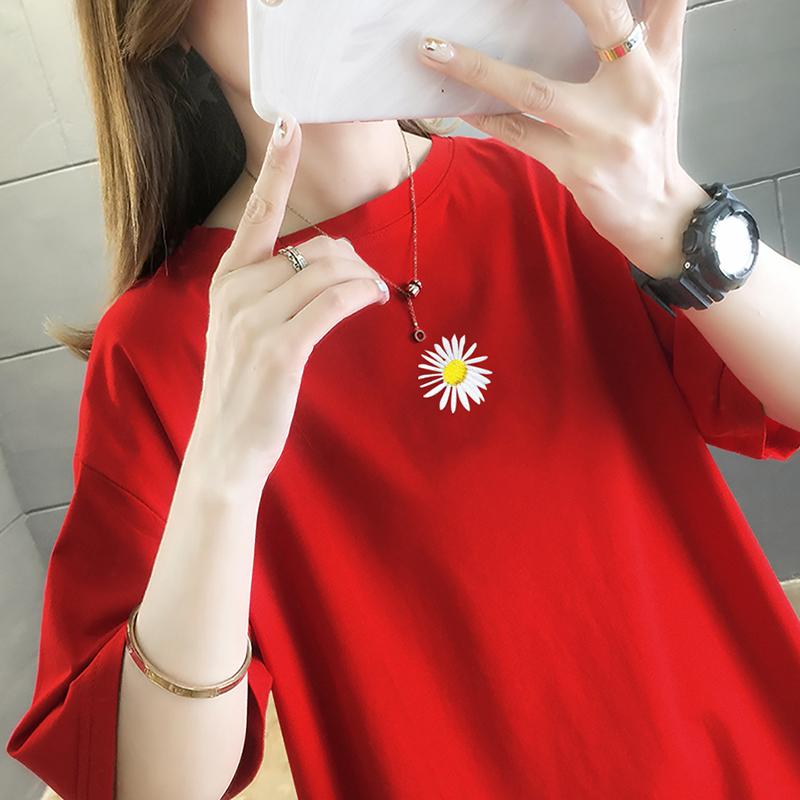 純棉大碼女裝2020夏裝5675#實拍上衣港味小雛菊圖案紅色短袖T恤女