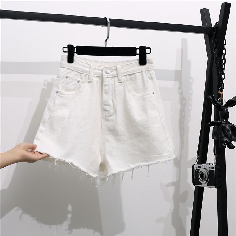 實拍韓國東大門牛仔褲闊腿高腰短褲不規則毛邊寬松褲子女新款韓版