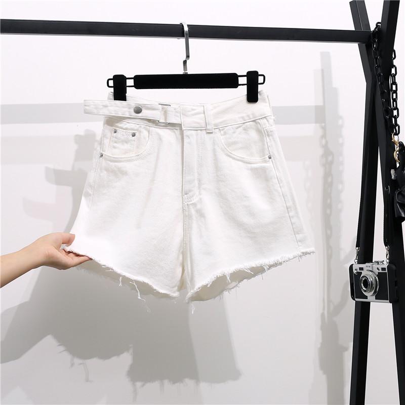 實拍東大門腰頭按扣牛仔褲闊腿高腰短褲不規則毛邊寬松褲子女新款