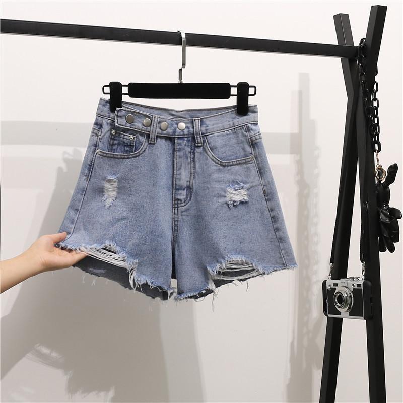 實拍破洞牛仔褲闊腿褲爛高腰短褲不規則毛邊寬松褲子女新款韓版