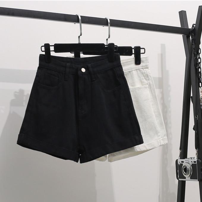 實拍韓國東大門牛仔褲闊腿短褲不規則寬松褲腳折邊女新款韓版褲子