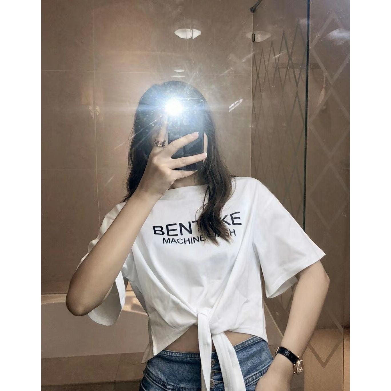 夏季新款韓版寬松字母印花小心機短款露臍短袖T恤上衣女