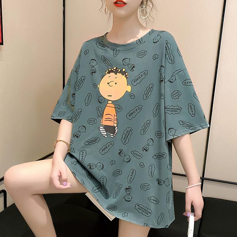 純棉現貨現發2020夏裝0010#實拍港味可愛印花套頭短袖T恤上衣女