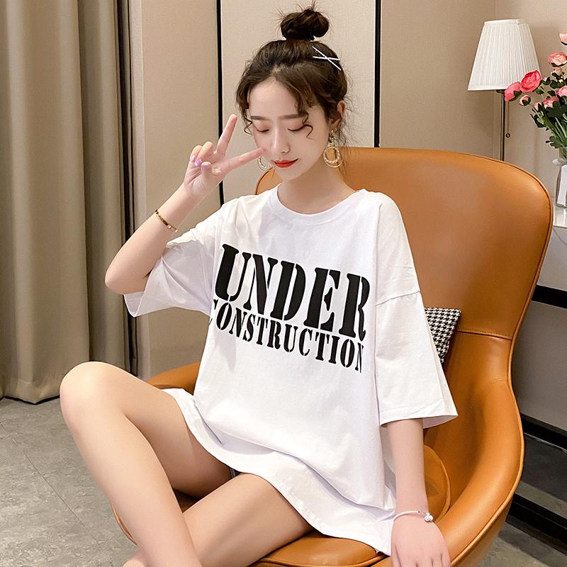 純棉現貨現發2020夏裝0014#實拍白色前后印花破洞t恤怪味少女短袖