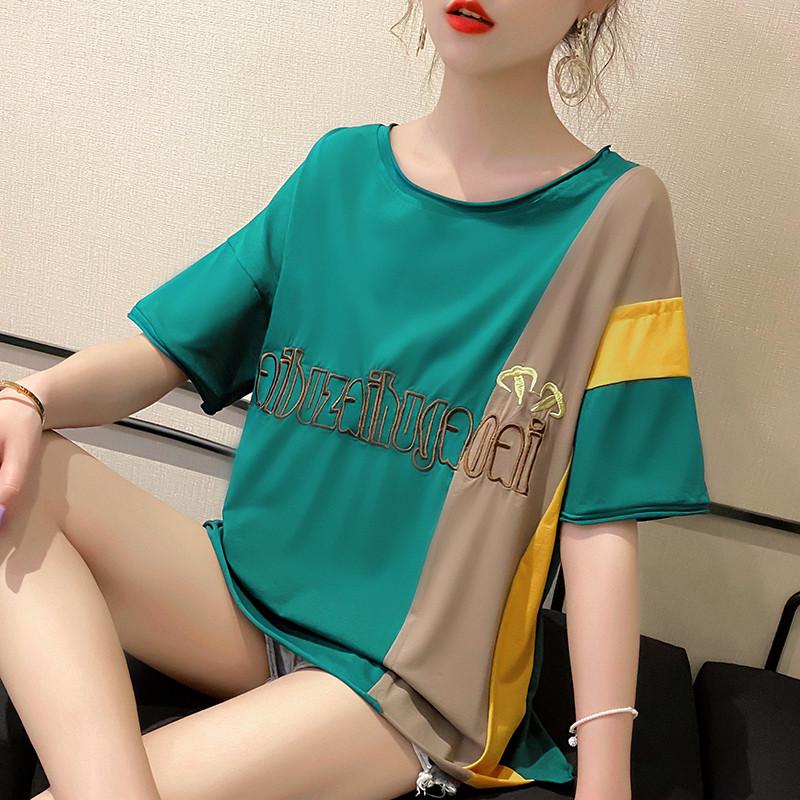 純棉2020夏裝0015#實拍綠色韓版寬松慵懶上衣短袖網紅t恤女ins潮