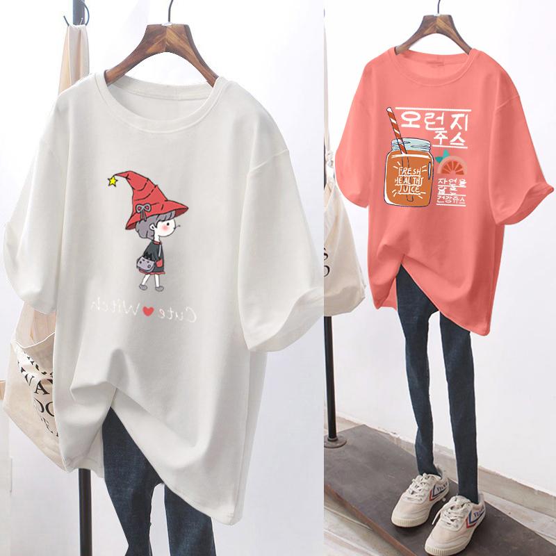 純棉大碼女裝2020夏裝官圖白色港味卡通ins短袖T恤女印花潮
