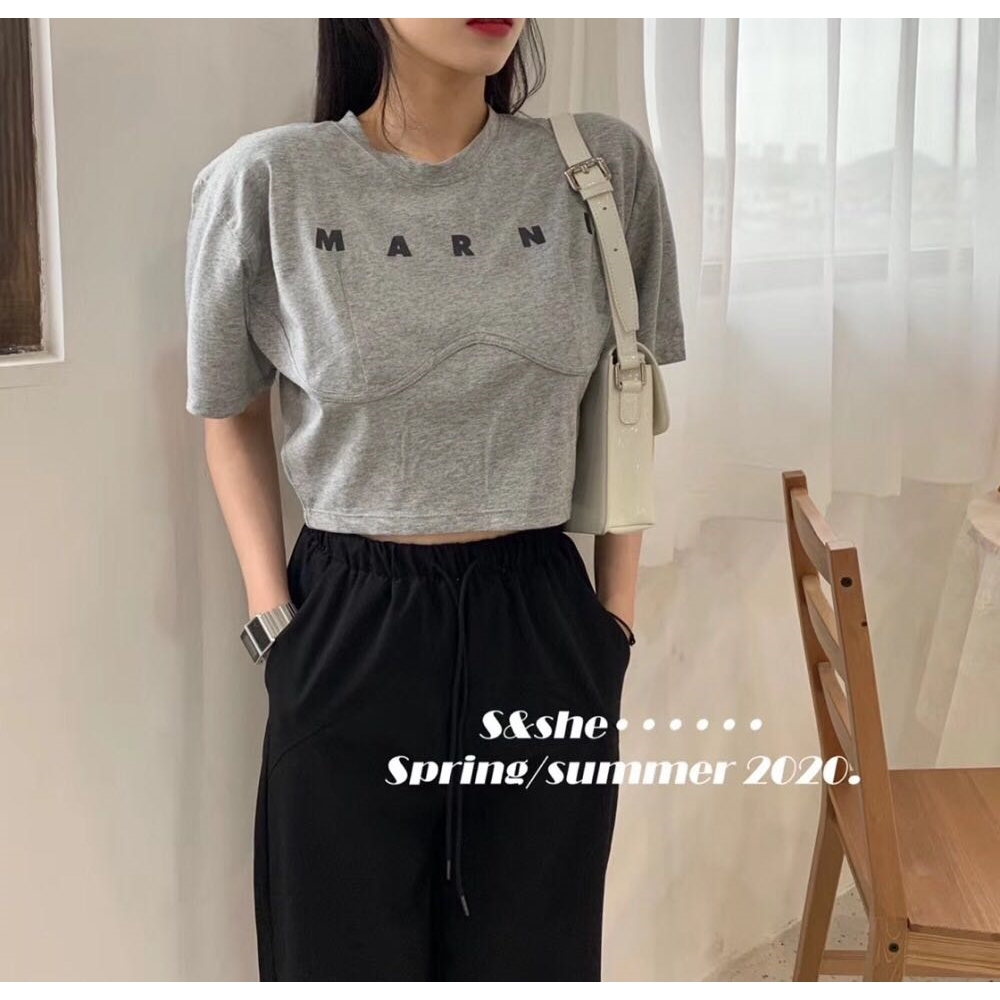 夏季韓版圓領字母印花設計感寬松短款高腰短袖T恤女上衣