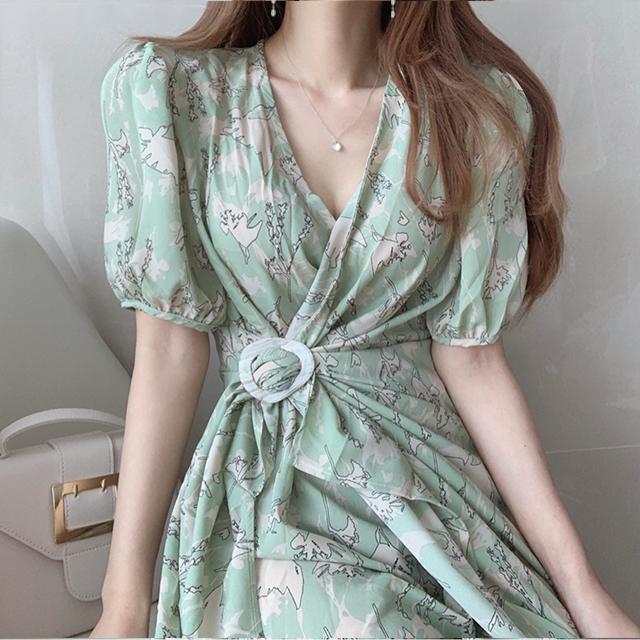 韩国chic洋气花朵V领不规则设计感短袖连衣裙