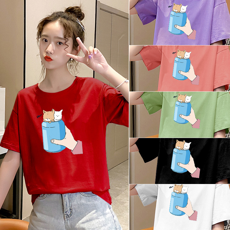 純棉大碼女裝2020夏裝5234#實拍卡通印花潮流紅色寬松短袖T恤女