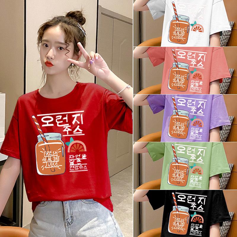 純棉大碼女裝2020夏裝5236#實拍網紅卡通印花紅色寬松短袖T恤女