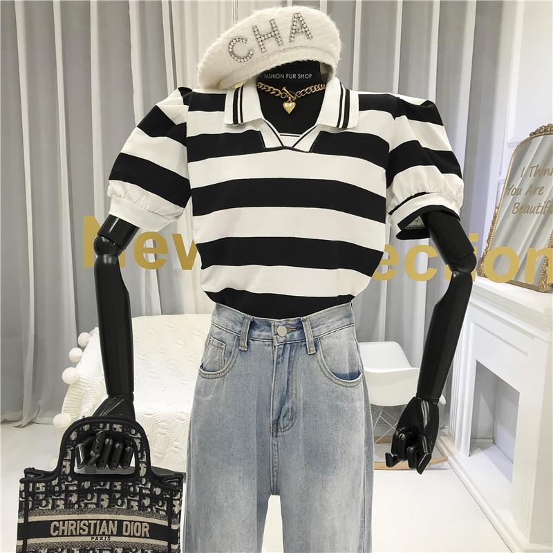 夏季新款黑白條紋POLO領泡泡袖百搭T恤女網紅時尚短袖上衣潮