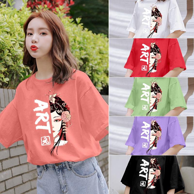 純棉大碼女裝2020夏裝5235#官圖超火卡通印花粉色寬松短袖T恤女