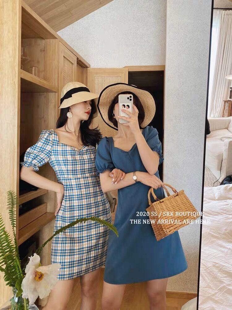 2020新款◆藍風鈴與瑪格麗特 閨蜜裝法式復古露背泡泡袖格紋