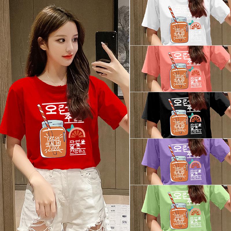 純棉大碼女裝2020夏裝5236#實拍超火卡通印花紅色寬松短袖T恤女
