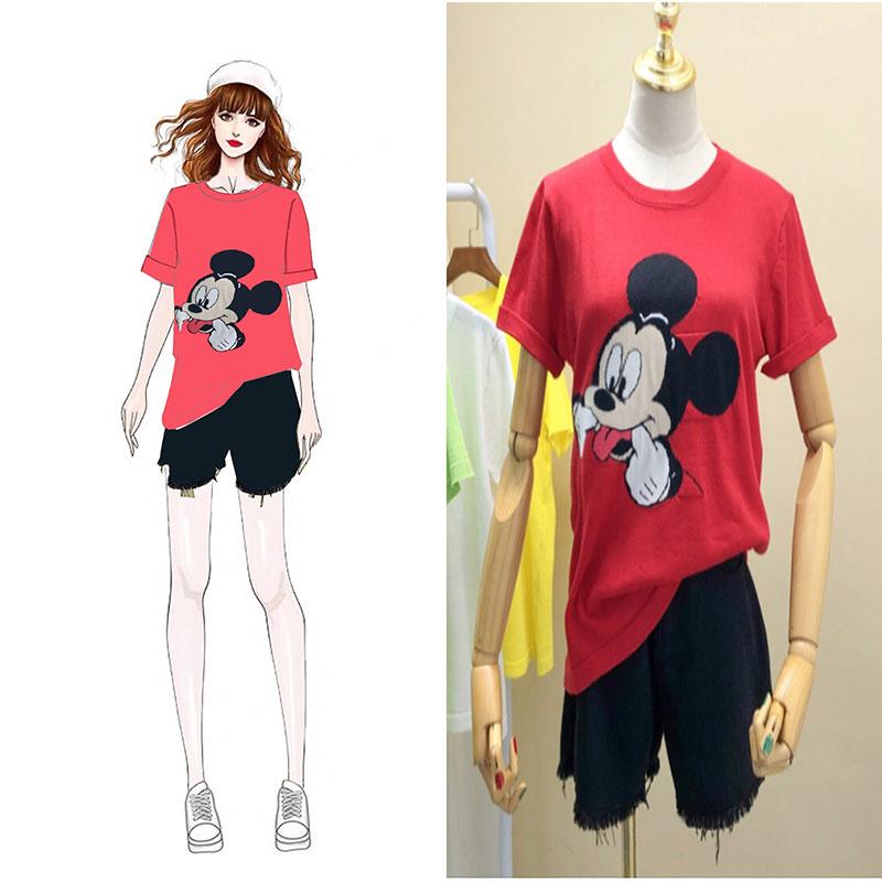 實拍韓國代購網紅同款韓版米老鼠米奇圖案12針冰爽曲珠針織T恤衫