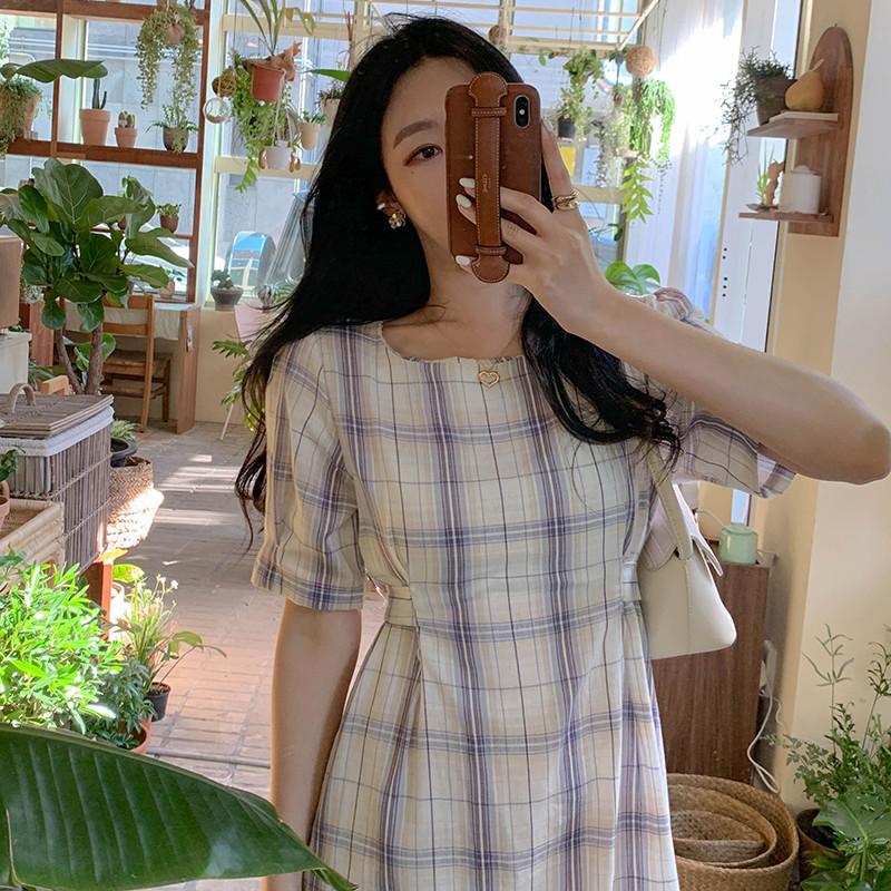 chic 复古格纹系带收腰显瘦中长款连衣裙