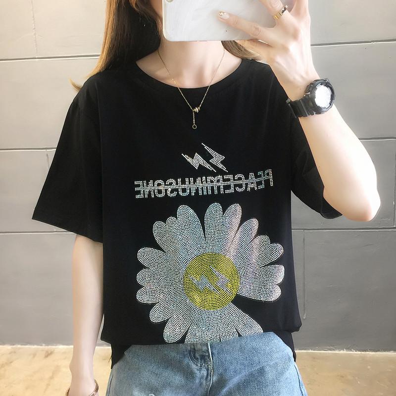 0036#實拍純棉2020夏裝寬松顯瘦黑色短袖T恤超火小雛菊燙鉆上衣女