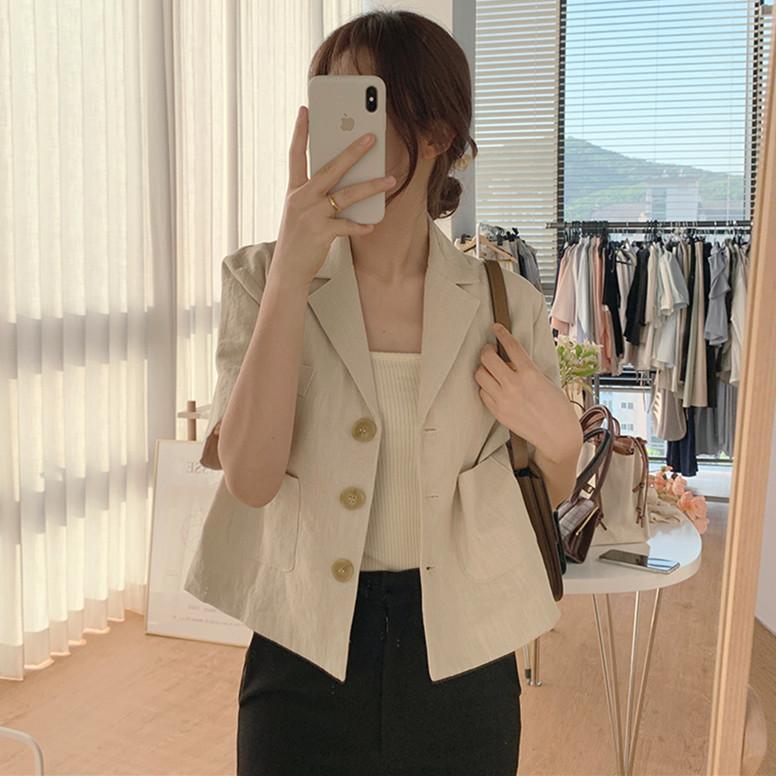 韩国chic复古气质西装领显瘦单排扣短款衬衫