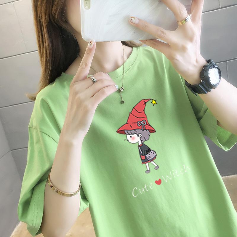 純棉大碼女裝2020夏裝5233#實拍超火卡通印花綠色寬松短袖T恤女