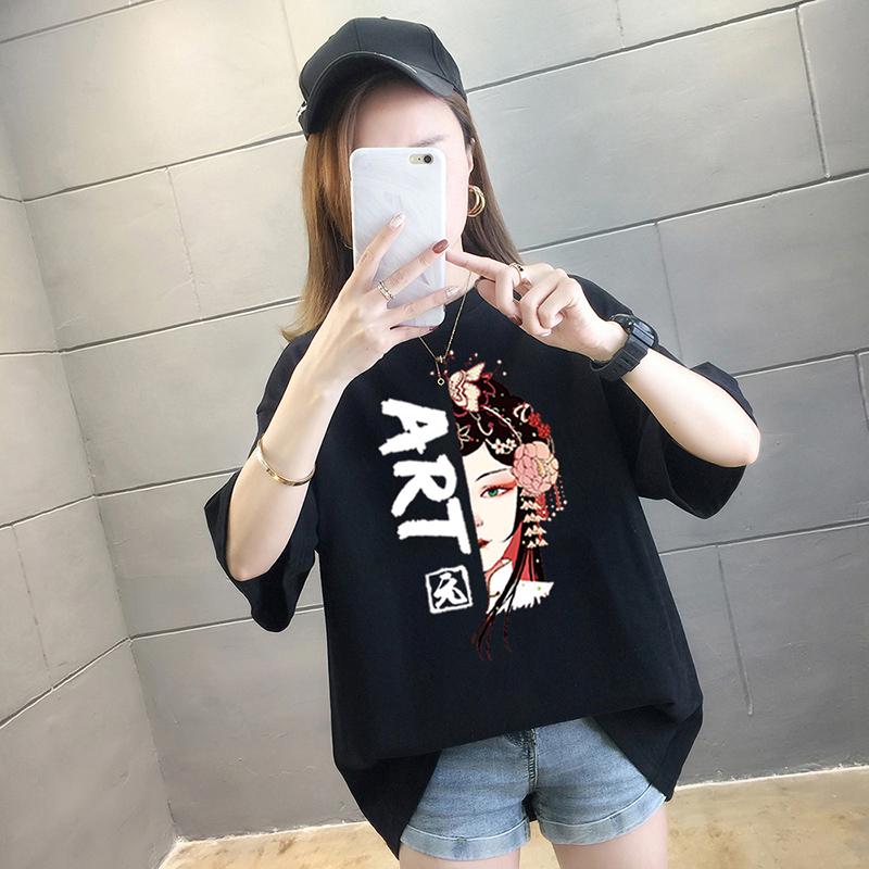 純棉大碼女裝2020夏裝5235#實拍超火卡通印花黑色寬松短袖T恤女