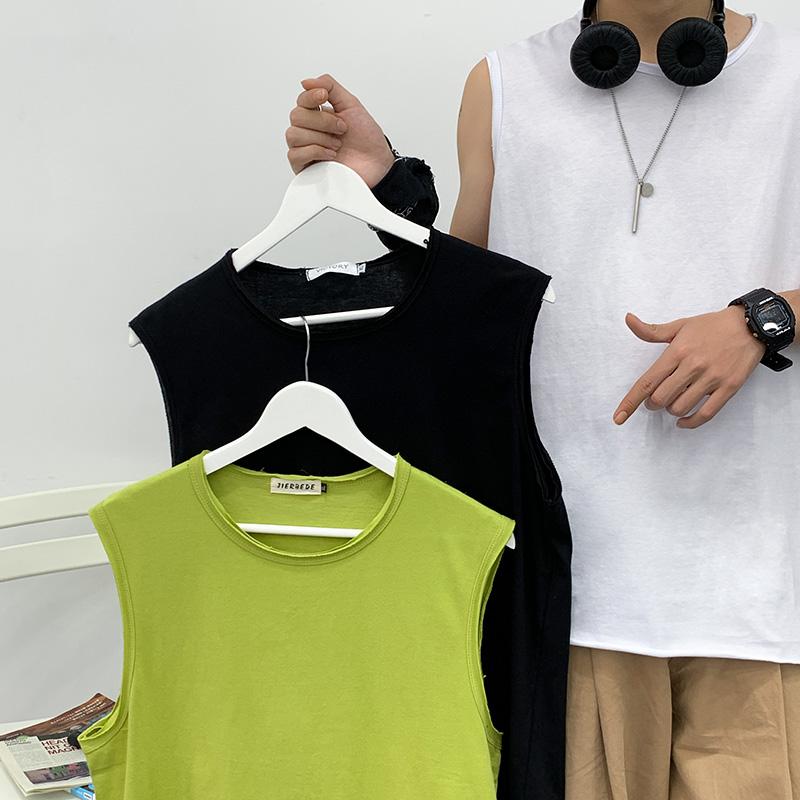 新款男T恤男裝無袖夏季時尚潮流棉T圓領透氣體恤青年學生坎肩男款