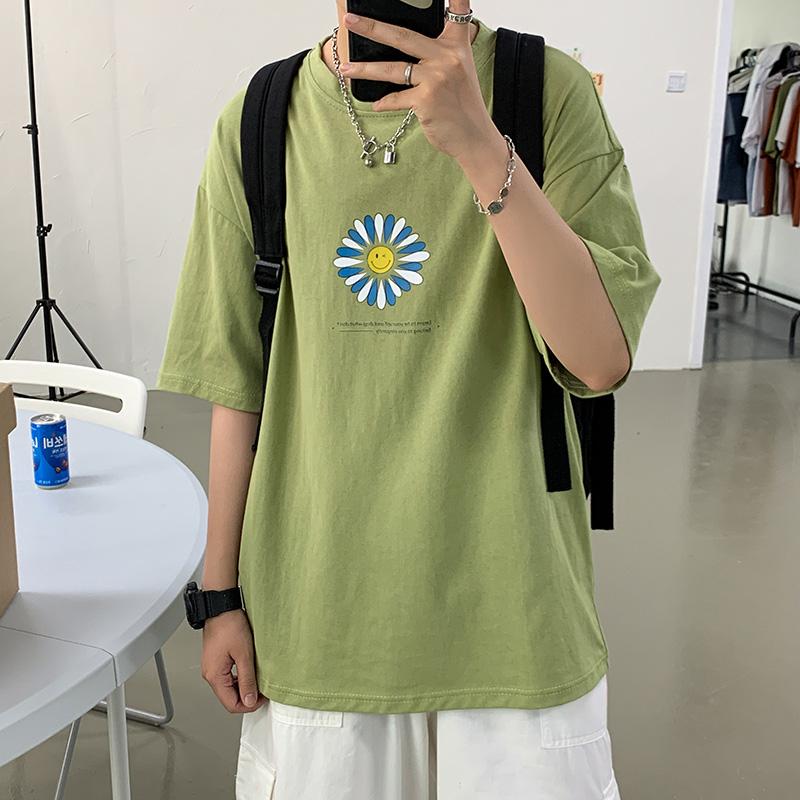 男裝夏天短袖T恤男新款韓版時尚印花圓領體恤衫休閑半袖上衣潮男