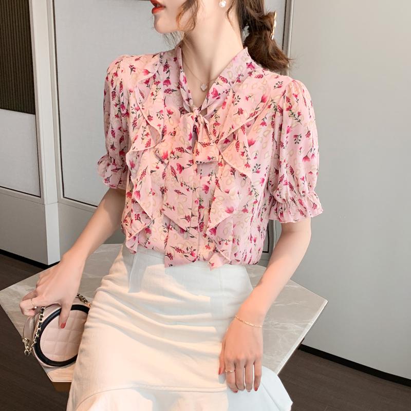 實拍2020新款夏裝雪紡衫粉色上衣女甜美洋氣短袖碎花雪紡小衫超仙