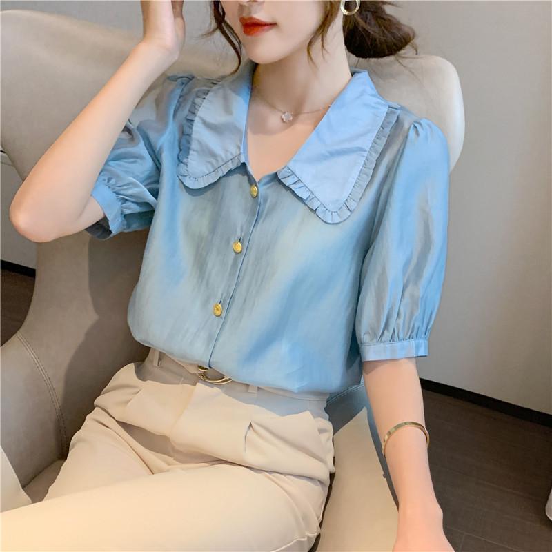實拍泡泡袖天絲襯衫女2020年夏季新款韓版寬松設計感娃娃領雪紡衫