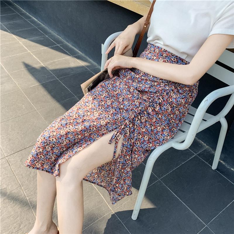 實拍2020系帶 夏季新款雪紡碎花中長款褶皺開叉不規則半身裙