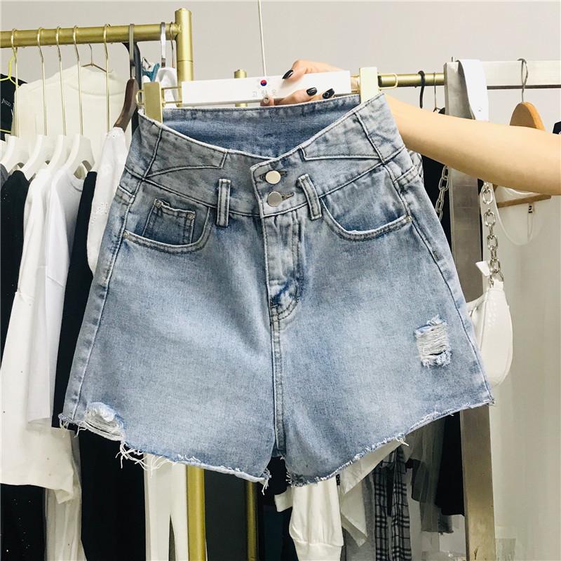實拍現貨牛仔短褲女裝高腰夏2020年新款顯瘦寬松破洞撕邊闊腿熱褲