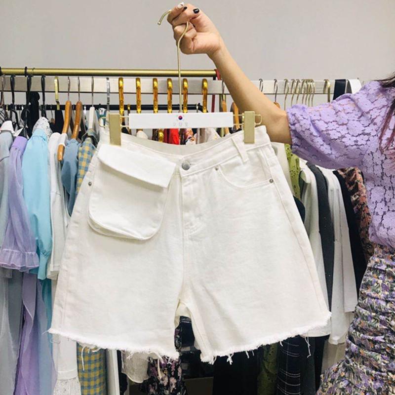 實拍2020新款女裝港味chic牛仔短褲學生淺色熱褲個性貓須毛邊短褲