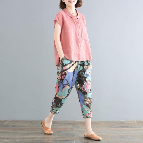 KTY12589#棉质夏装新款韩版宽松大码遮肉棉质套装女两件套文艺范