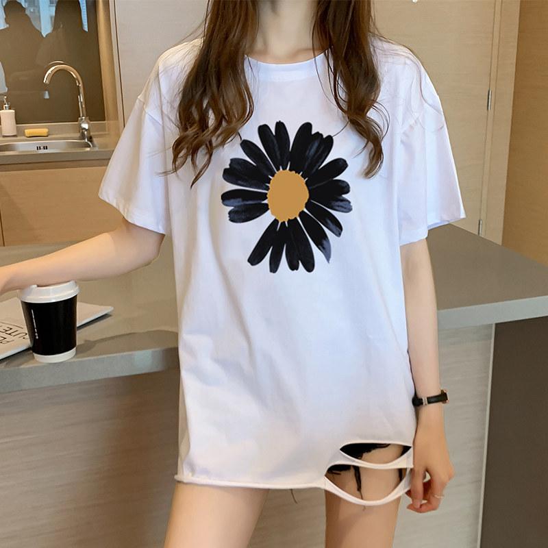 40支純棉奧代爾2020夏裝小V家原模特5101#實拍破洞韓版寬松T恤女