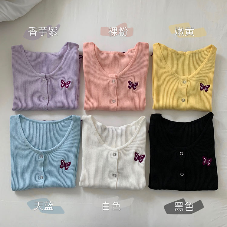 現貨實拍實價bm風純色針織衫蝴蝶刺繡韓版夏季短袖開衫顯瘦上衣女
