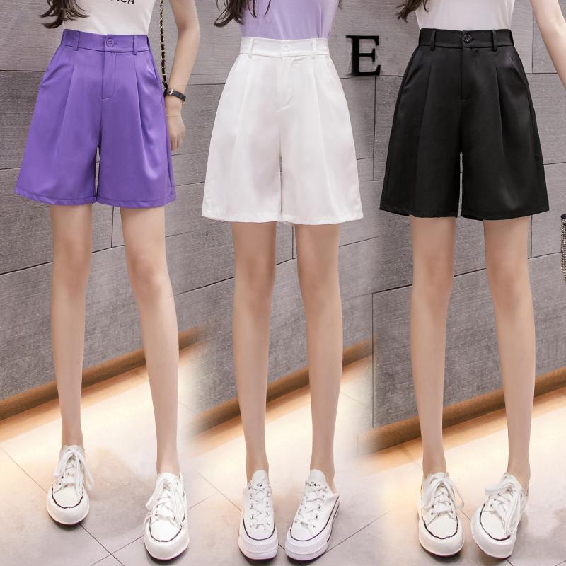 實拍2020夏季新款韓版松緊腰大碼休閑短褲紫色雪紡寬松短褲女