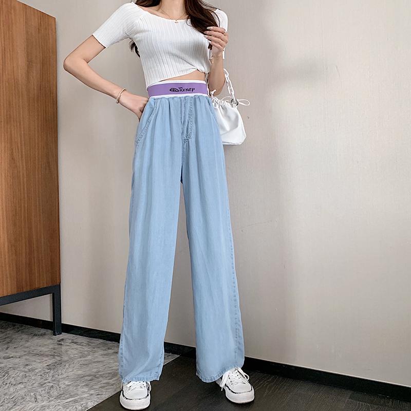 實拍現貨淺藍色闊腿牛仔褲女夏薄款垂感寬松直筒褲長款拖地褲T恤