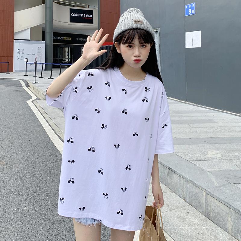 純棉2020夏裝0023#實拍超火cec印花白色短袖T恤女網紅寬松上衣
