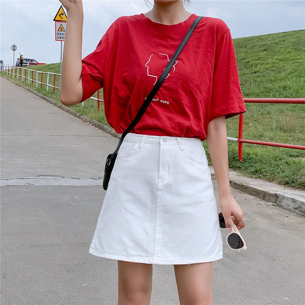 2020夏季少女感ins白色牛仔短裙女顯瘦包臀a字裙chic高腰半身裙子