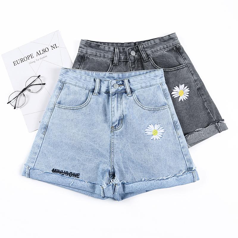 實拍牛仔短褲女夏季新款破洞高腰顯瘦a字闊腿寬松小雛菊熱褲潮ins
